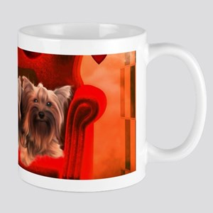 Cute little Yorkshire Terrier with hearts Mugs