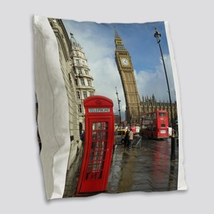 London phone box Burlap Throw Pillow