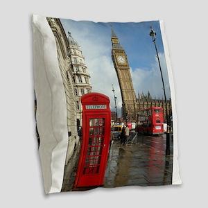 London phone box Burlap Throw Pillow