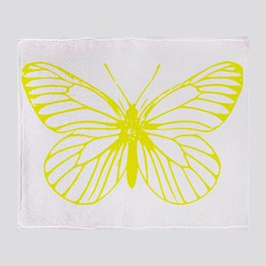 Yellow Butterfly Drawing Throw Blanket