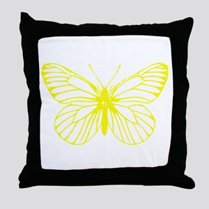 Yellow Butterfly Drawing Throw Pillow
