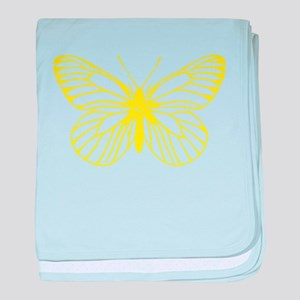 Yellow Butterfly Drawing baby blanket