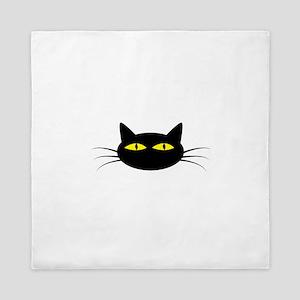 Black Cat Face Queen Duvet