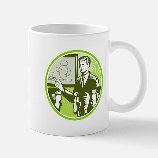 Businessman Presenting Boardroom Woodcut Mug