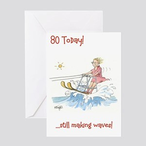Funny old lady greeting cards cafepress 80 today greeting card on the crest of a wave m4hsunfo