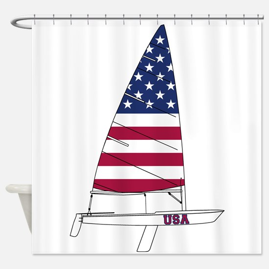 American Dinghy Sailing Shower Curtain