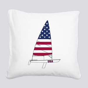 American Dinghy Sailing Square Canvas Pillow
