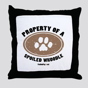 Whoodle dog Throw Pillow