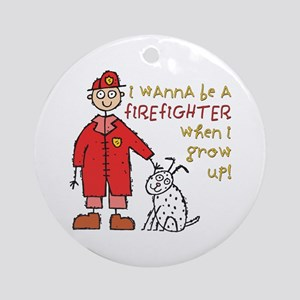 Cute Kids Firefighter Ornament (Round)