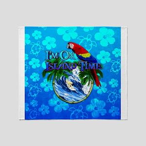 Island Time Surfer Honu Throw Blanket