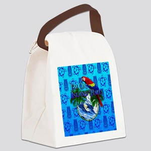 Island Time Surfer Tiki Canvas Lunch Bag
