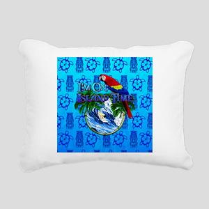 Island Time Surfer Tiki Rectangular Canvas Pillow
