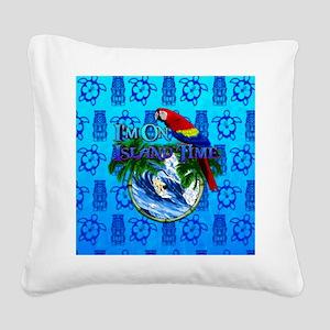 Island Time Surfer Tiki Square Canvas Pillow