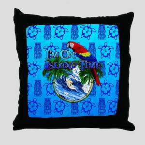 Island Time Surfer Tiki Throw Pillow