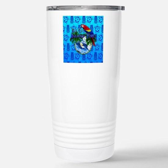 Island Time Surfer Tiki Travel Mug