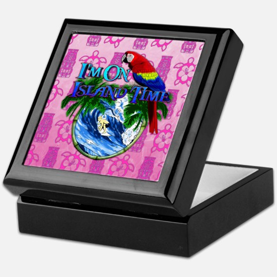 Island Time Surfer Tiki Keepsake Box