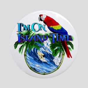 Island Time Parrot Ornament (Round)