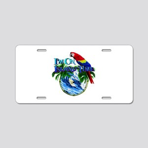 Island Time Parrot Aluminum License Plate