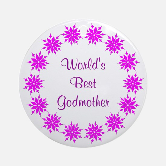 World's Best Godmother (pink wreath) Ornament (Rou