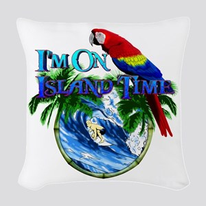 Island Time Parrot Woven Throw Pillow