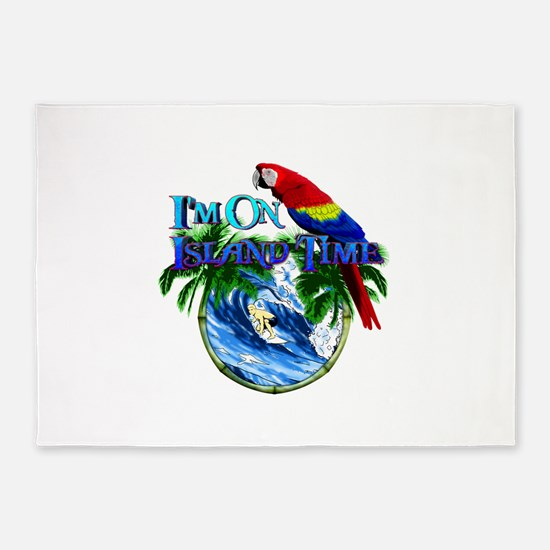 Island Time Parrot 5'x7'Area Rug