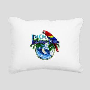 Island Time Parrot Rectangular Canvas Pillow