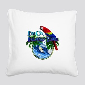 Island Time Parrot Square Canvas Pillow