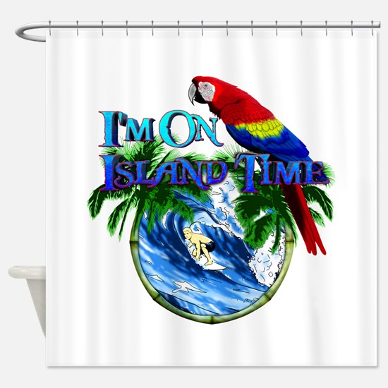 Island Time Parrot Shower Curtain