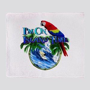 Island Time Parrot Throw Blanket