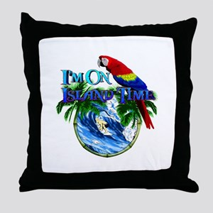 Island Time Parrot Throw Pillow