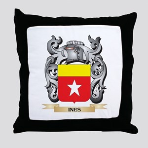 Ines Coat of Arms - Family Crest Throw Pillow