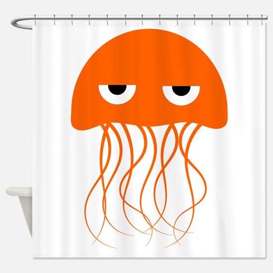 Orange Jellyfish Shower Curtain