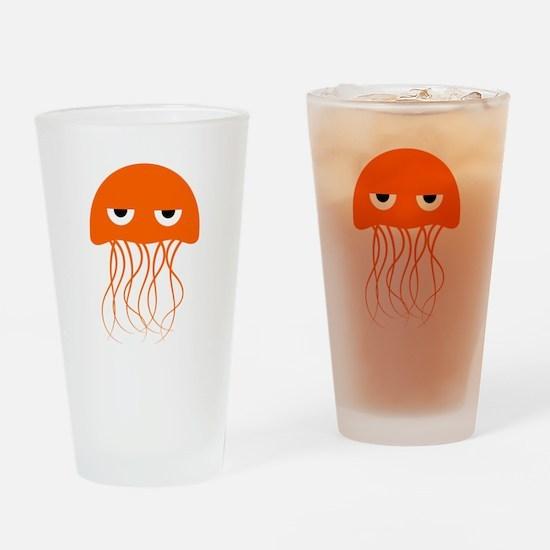 Orange Jellyfish Drinking Glass