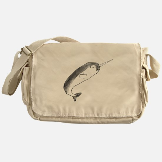 Narwhal Sketch Messenger Bag