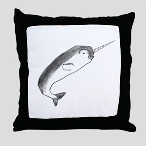 Narwhal Sketch Throw Pillow