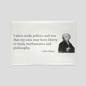 John Adams Quotes - Study War Rectangle Magnet