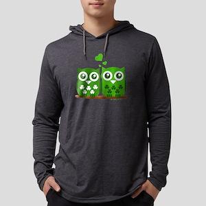 Green Owls Mens Hooded Shirt