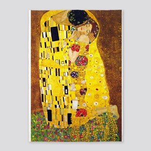 The Kiss, Klimt, Vintage Painting 5'x7'Area Rug