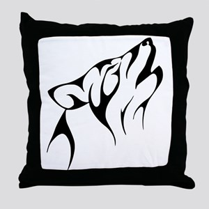 Black Howling Coyote Throw Pillow