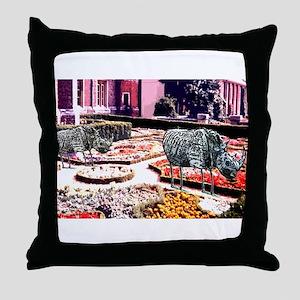 Garden of Flamingo Rhinos Throw Pillow
