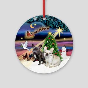 Xmas Magic & 2 Frenchies Ornament (Round)