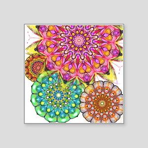 "Floral Patten 2 Square Sticker 3"" x 3"""