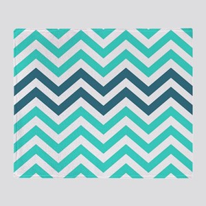 Turquoise and Teal Blue Chevrons Throw Blanket