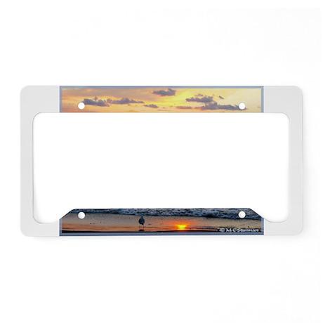 Sunset, seagull, photo! License Plate Holder