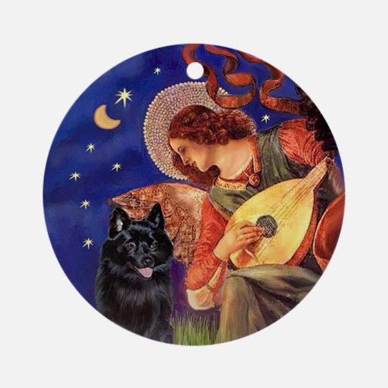 Mandolin Angel & Schipperke Ornament (Round)