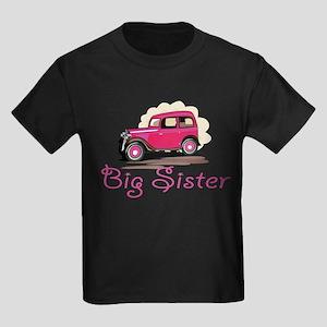 Big Sister Retro Car Kids Dark T-Shirt