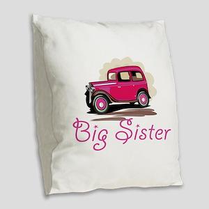 Big Sister Retro Car Burlap Throw Pillow