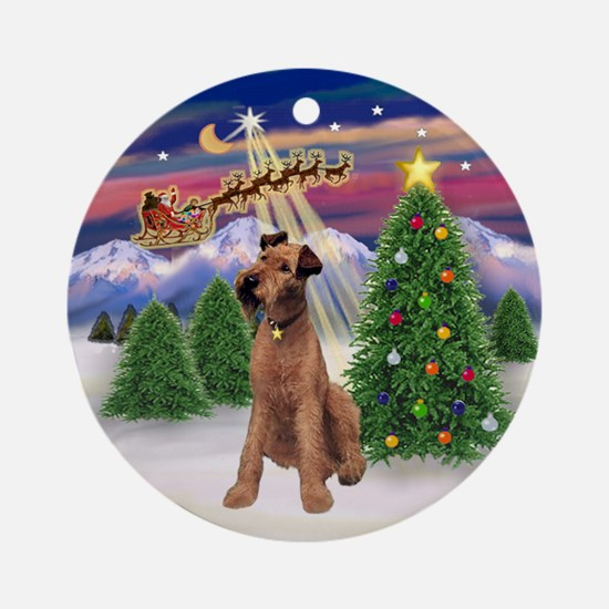 Santa's Take Off & Irish Terrier Ornament (Round)