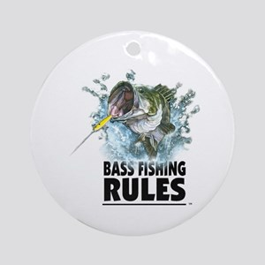 BASS FISHING RULES...STRIKE! Ornament (Round)