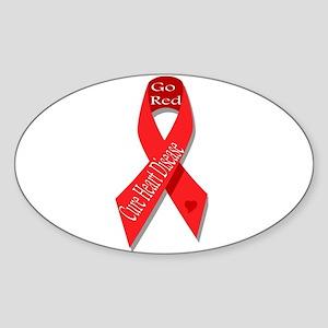 Cure Heart Disease (Go Red) Oval Sticker